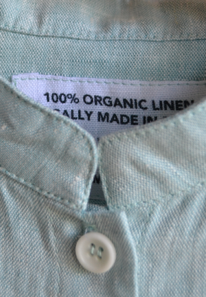 Organic Linen Light Turquoise Stand Collar Shirt