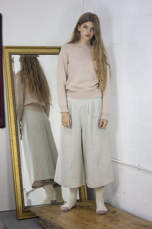 Wide Cropped Linen Trousers