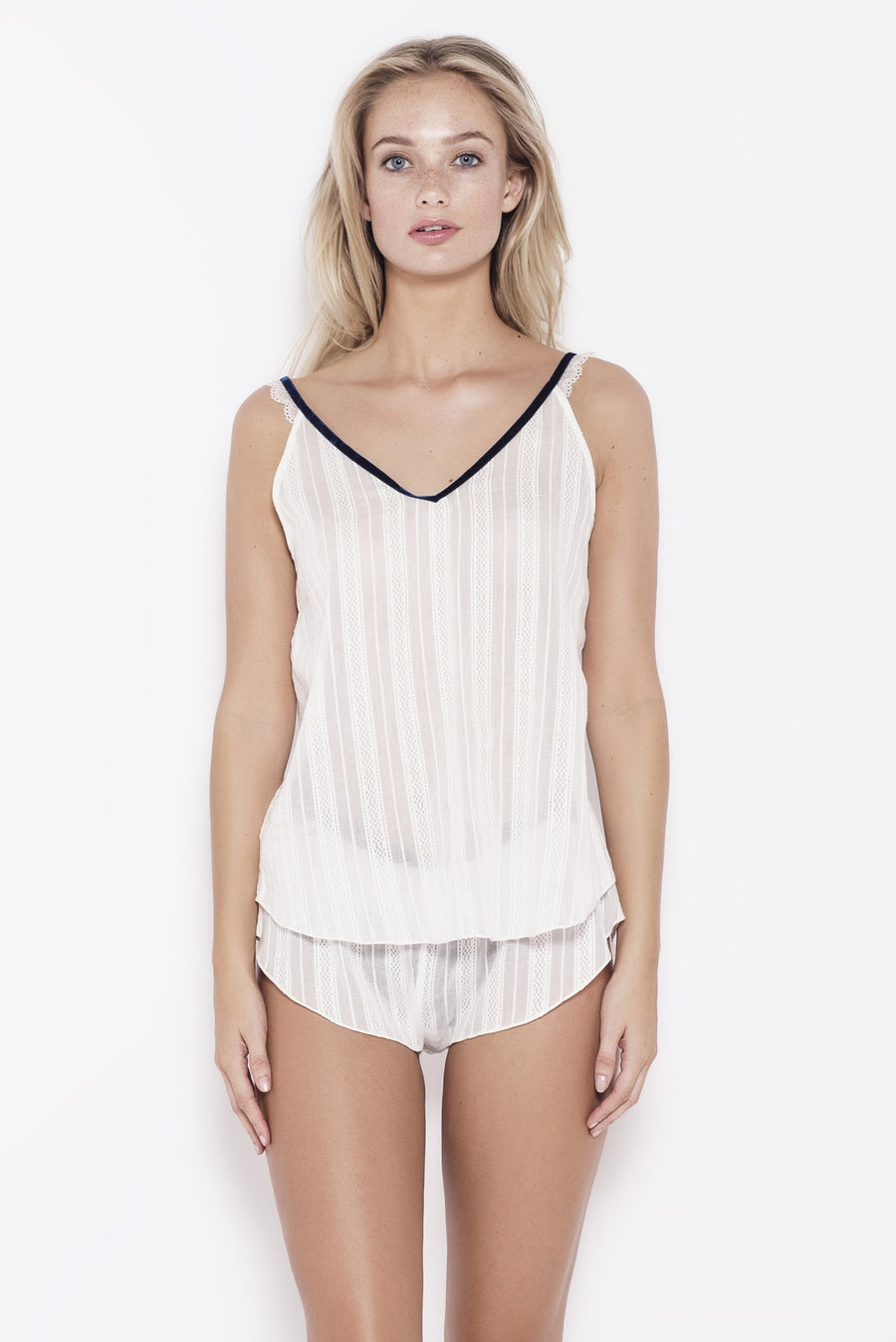 Organic Cotton Pyjama Top with Lace