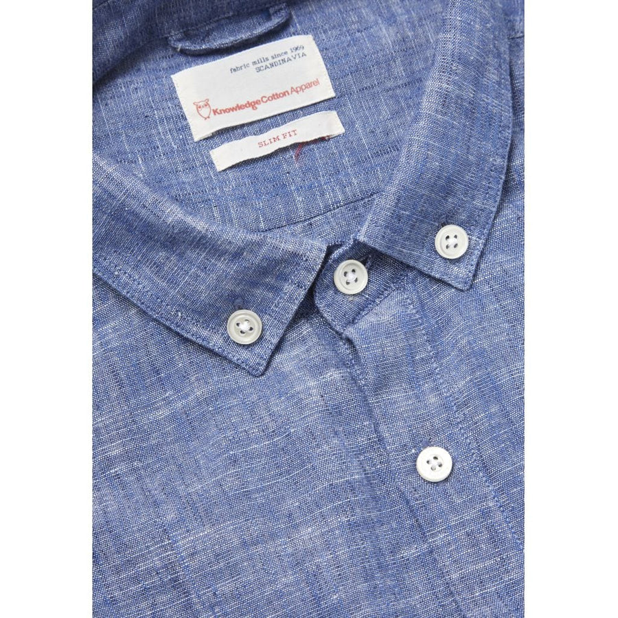 KnowledgeCotton Apparel – Textured GOTS Organic Cotton and Linen Shirt @ Amberoot
