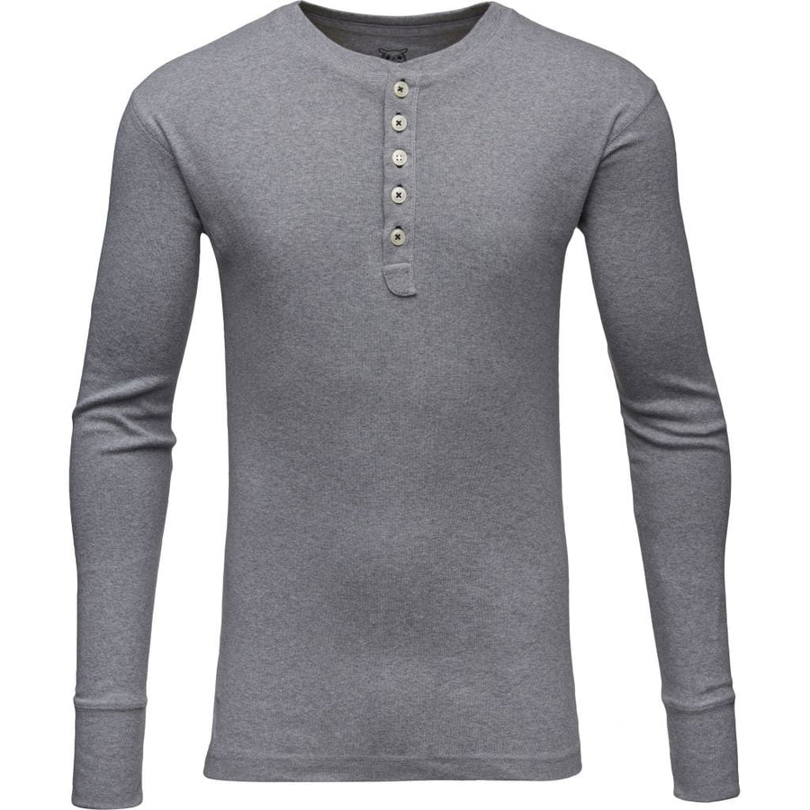 KnowledgeCotton Apparel Grey Rib Knit Henley GOTS Organic Cotton Amberoot 81003