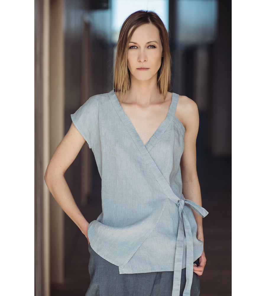 Motumo - Asymmetric Light Grey Linen Top at Amberoot (1)