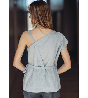 Motumo - Asymmetric Light Grey Linen Top at Amberoot (2)