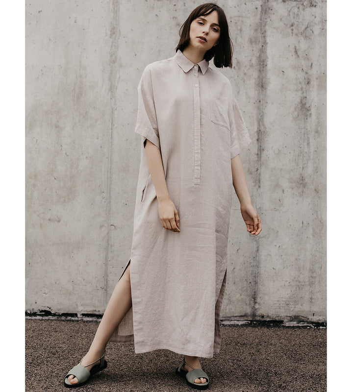 Beige Shirt Linen Dress