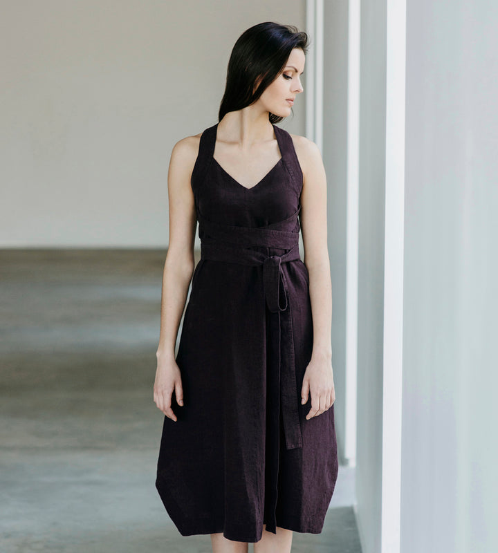 Motumo - Belted Plum Linen Dress at Amberoot (1)