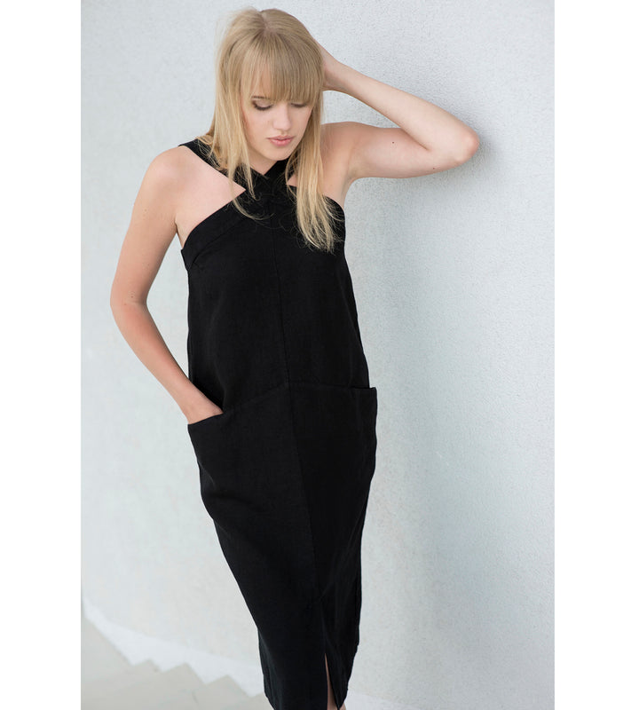 Motumo - Black Linen Halter-Neck Dress at Amberoot (1)