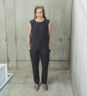 Motumo - Black Linen Jumpsuit at Amberoot (1)