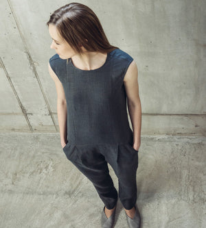 Motumo - Black Linen Jumpsuit at Amberoot (2)