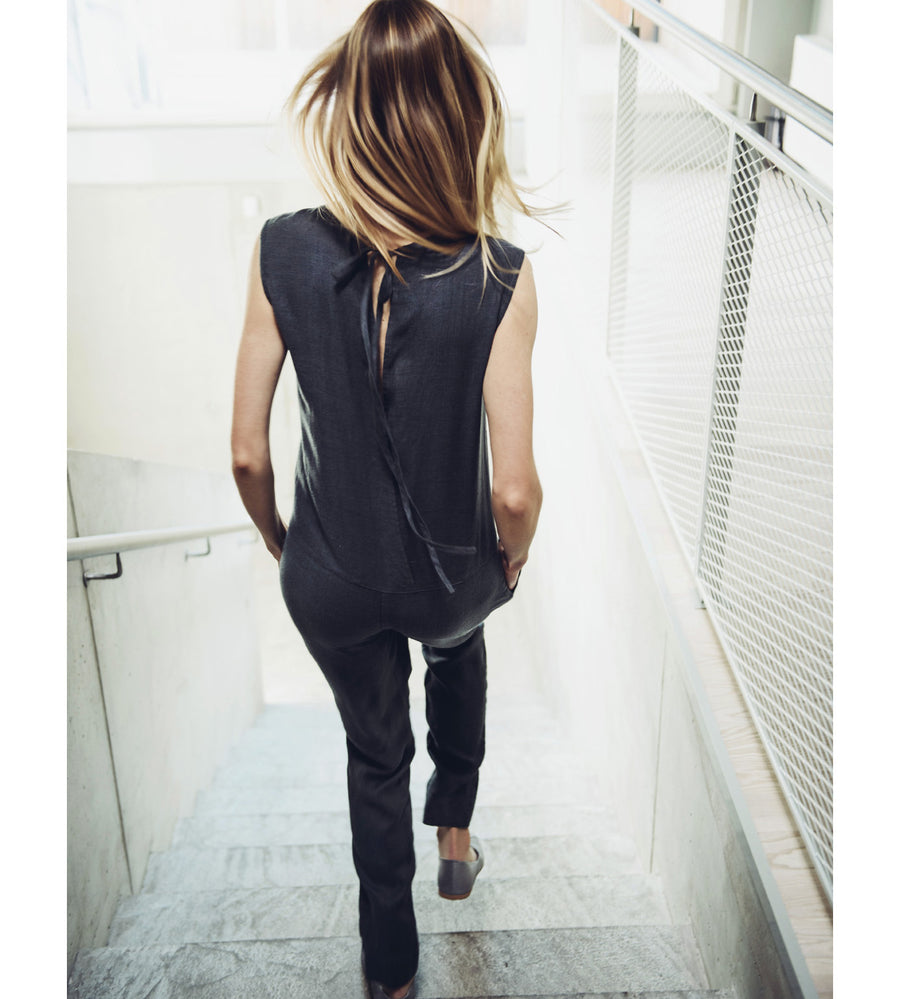 Motumo - Black Linen Jumpsuit at Amberoot (3)