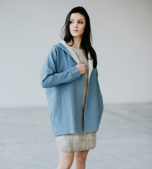 Motumo - Blue Hooded Linen Jacket at Amberoot (1)