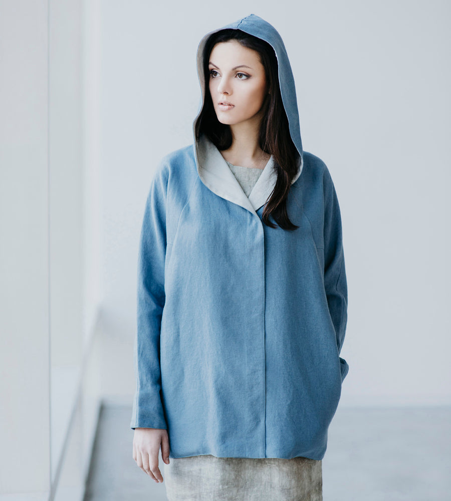 Motumo - Blue Hooded Linen Jacket at Amberoot (2)