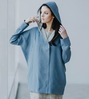 Motumo - Blue Hooded Linen Jacket at Amberoot (3)