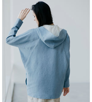 Motumo - Blue Hooded Linen Jacket at Amberoot (4)