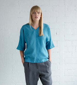 Motumo - Blue Linen Blouse at Amberoot (1)