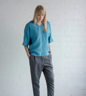 Motumo - Blue Linen Blouse at Amberoot (2)