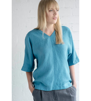 Motumo - Blue Linen Blouse at Amberoot (3)