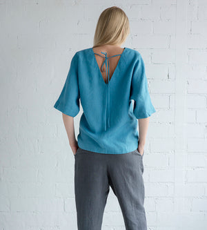 Motumo - Blue Linen Blouse at Amberoot (4)