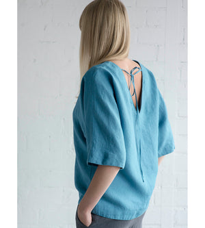 Motumo - Blue Linen Blouse at Amberoot (5)