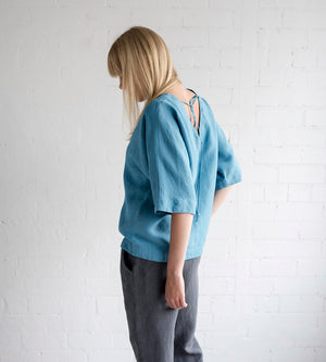 Motumo - Blue Linen Blouse at Amberoot (6)