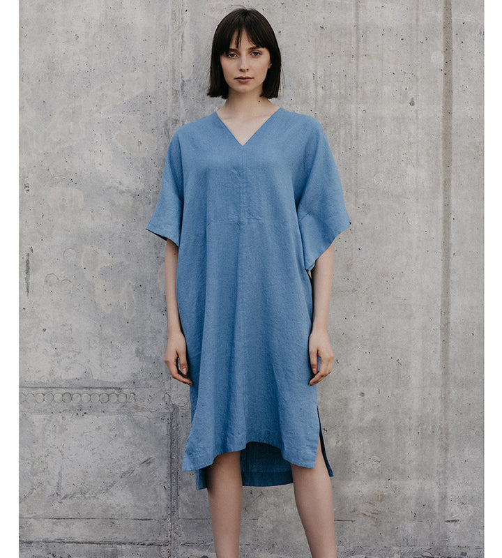 Blue Loose Linen Dress