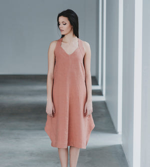Motumo - Burnt Umber Beetle Linen Dress at Amberoot (1)