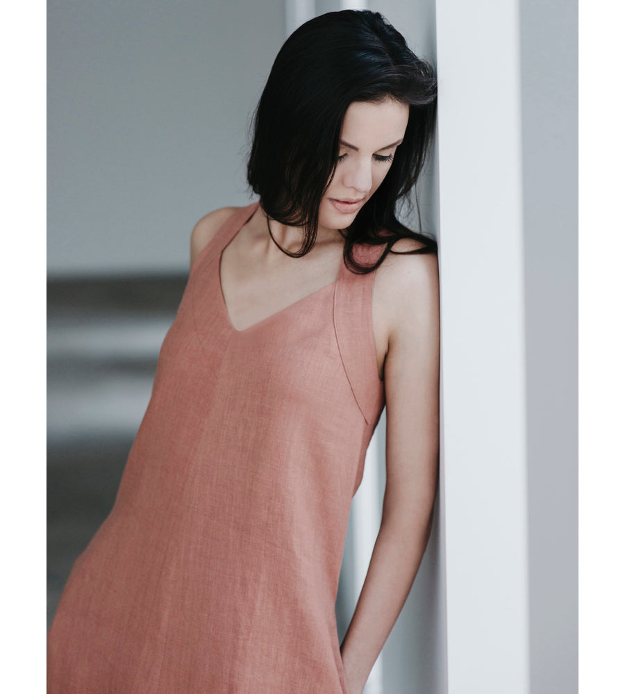 Motumo - Burnt Umber Beetle Linen Dress at Amberoot (3)