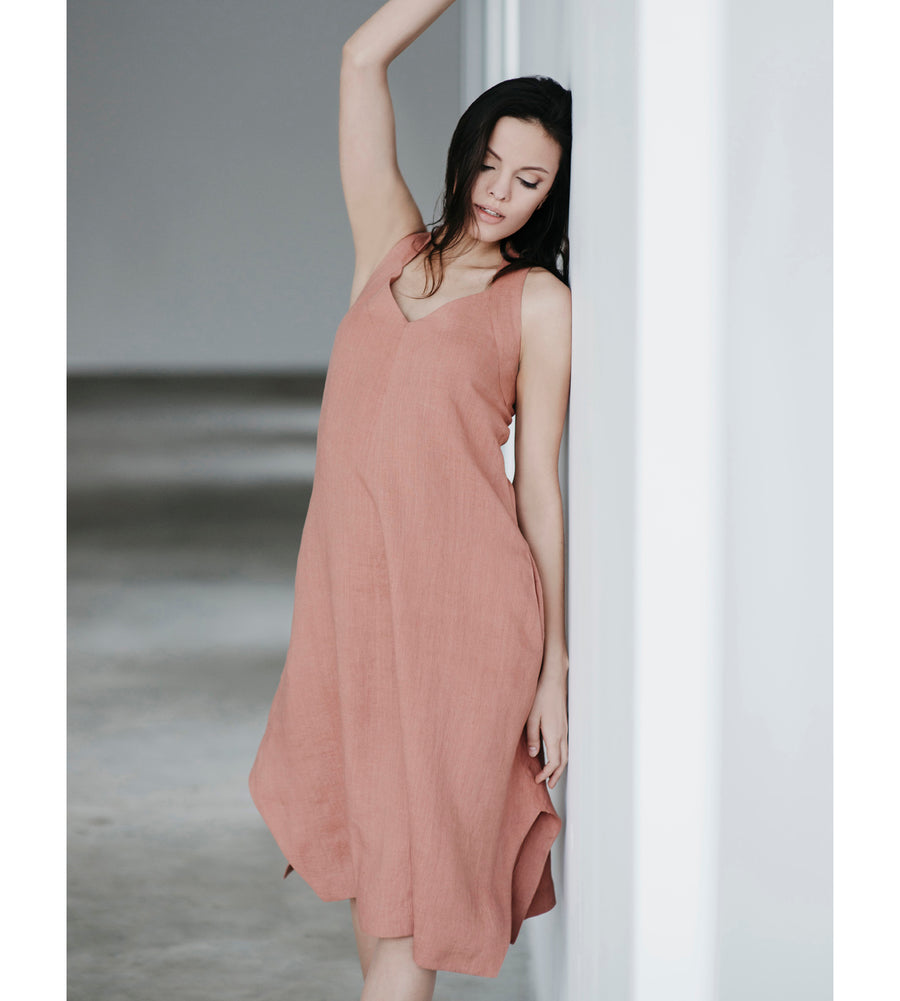 Motumo - Burnt Umber Beetle Linen Dress at Amberoot (4)