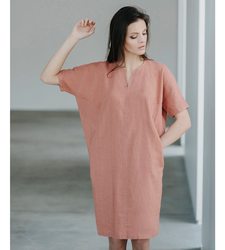Motumo - Burnt Umber Linen Dress at Amberoot (1)
