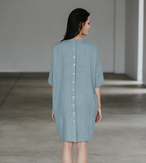 Motumo - Button Detail Linen Dress at Amberoot (1)