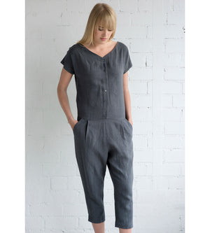 Motumo - Charcoal Grey Linen Jumpsuit at Amberoot (1)