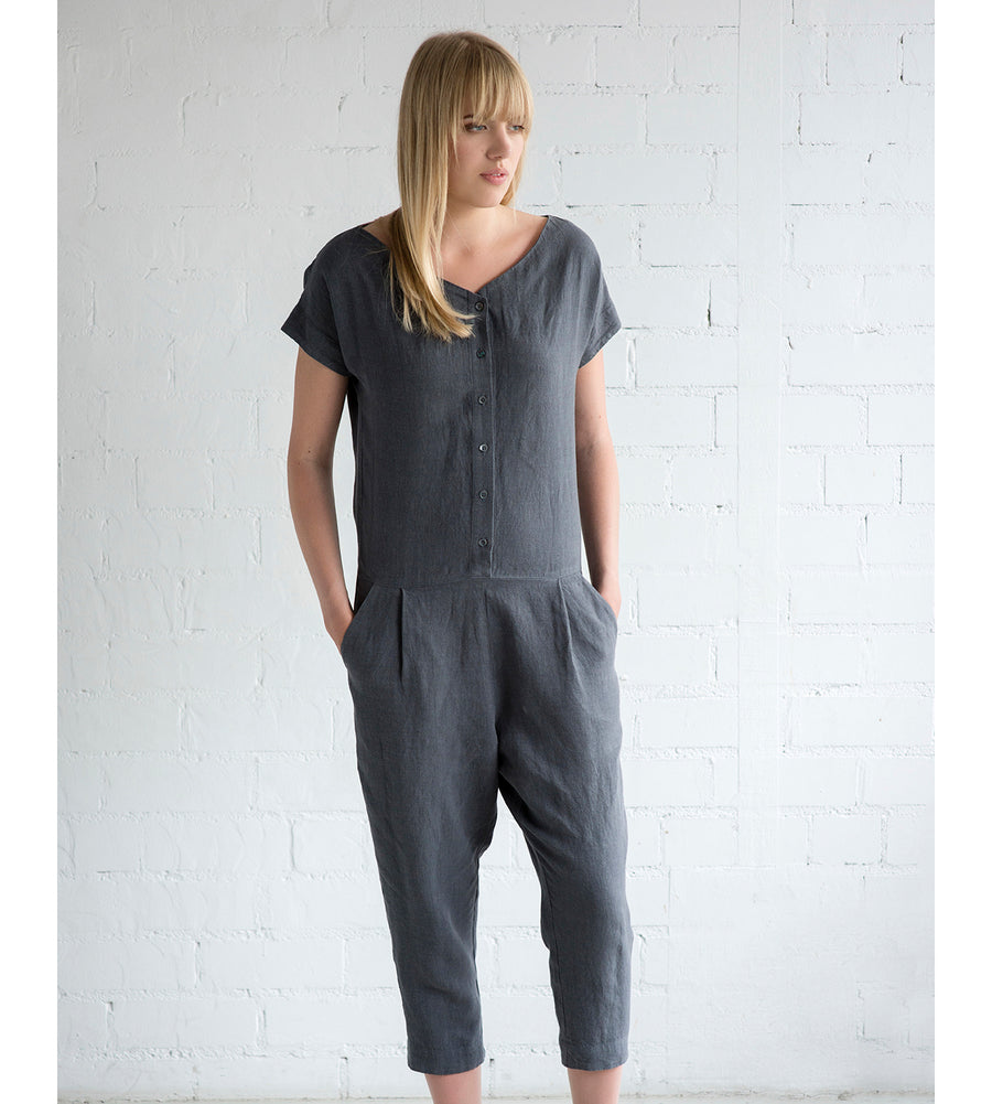 Motumo - Charcoal Grey Linen Jumpsuit at Amberoot (2)