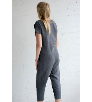 Motumo - Charcoal Grey Linen Jumpsuit at Amberoot (3)