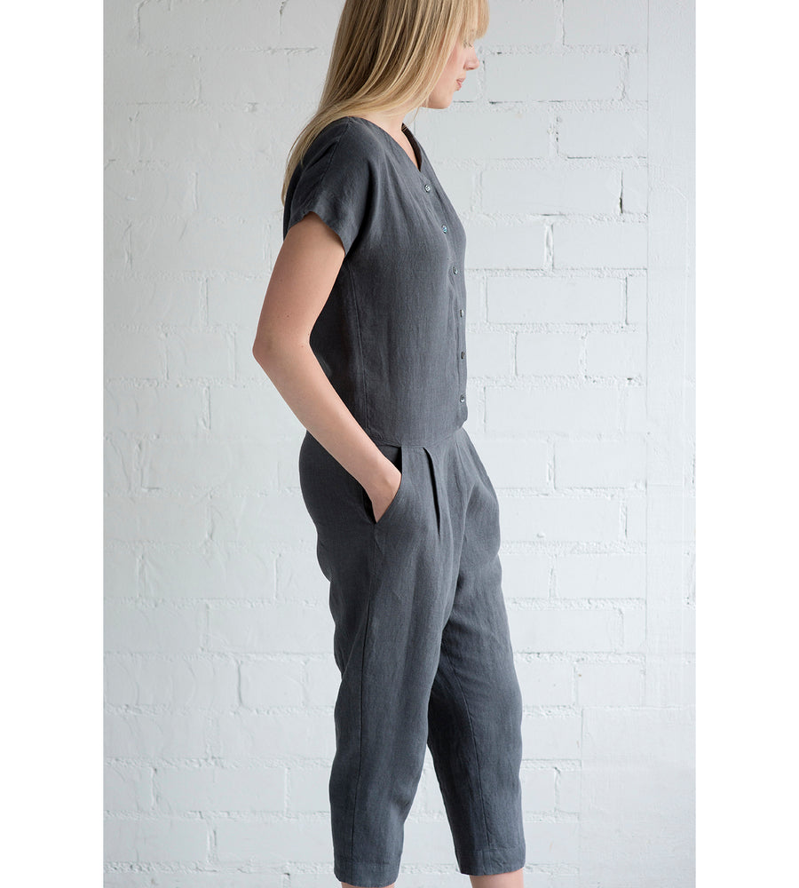 Motumo - Charcoal Grey Linen Jumpsuit at Amberoot (6)