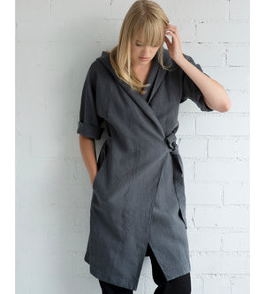 Motumo - Charcoal V Neck Hooded Blouse at Amberoot (1)