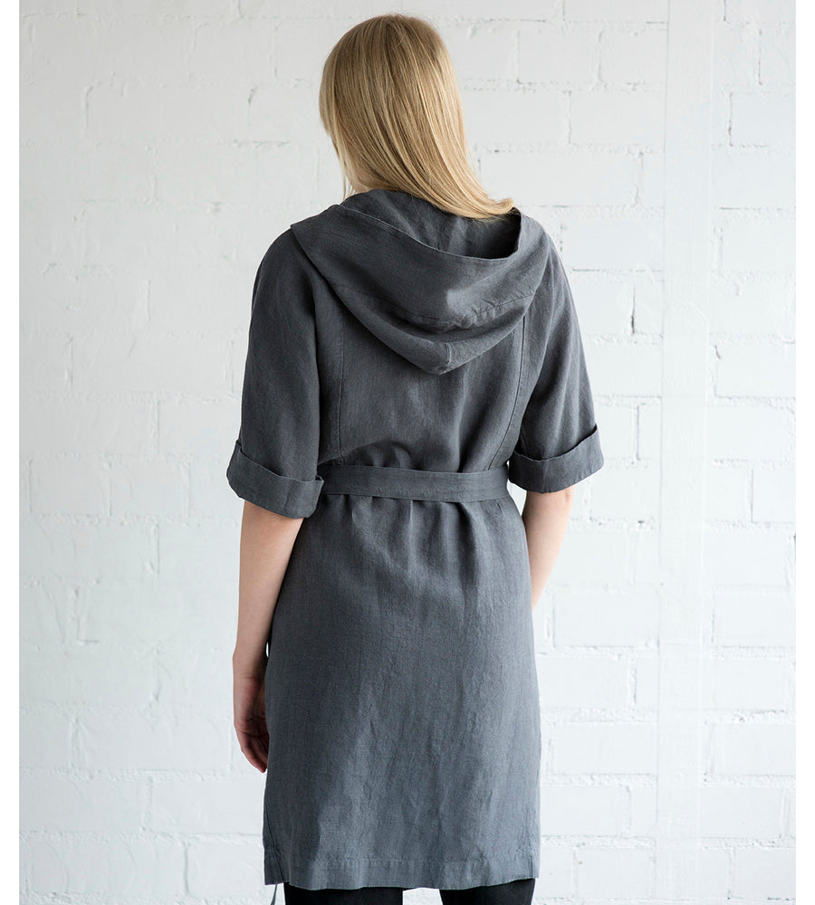 Motumo - Charcoal V Neck Hooded Blouse at Amberoot (6)