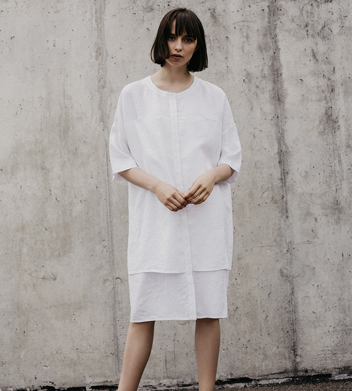 Classic White Shirt Linen Dress