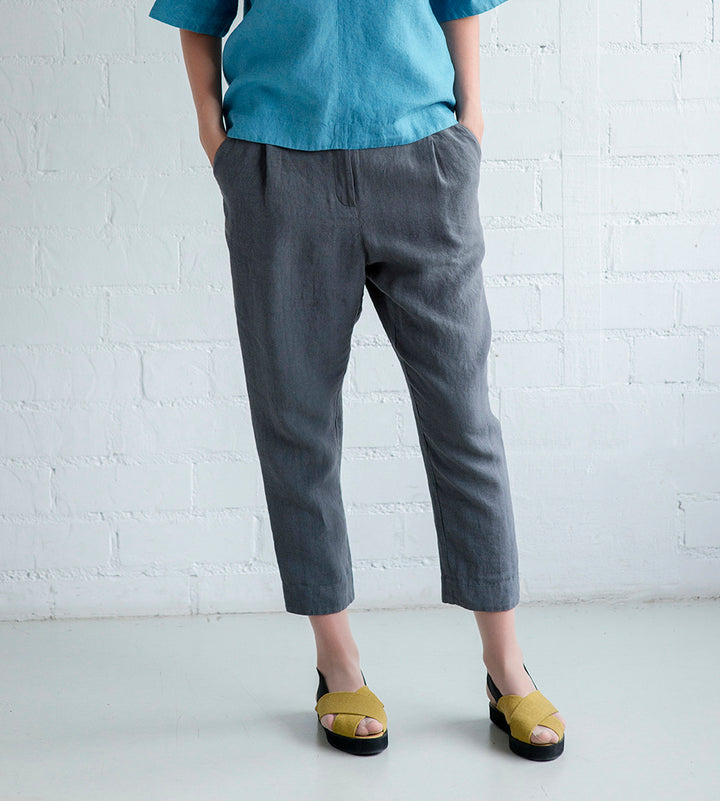 Motumo - Cropped Linen Chino in Black or Charcoal at Amberoot (1)