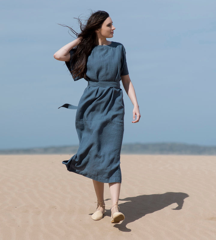 Motumo - Dark Indigo Linen Dress at Amberoot (1)