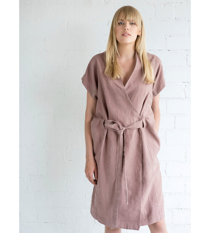 Motumo - Deep Pink Linen Tie Dress at Amberoot (1)