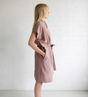 Motumo - Deep Pink Linen Tie Dress at Amberoot (2)