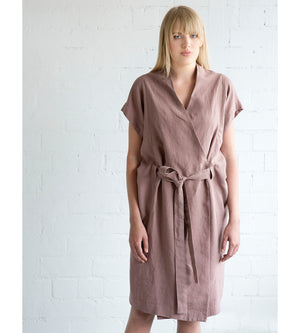 Motumo - Deep Pink Linen Tie Dress at Amberoot (3)