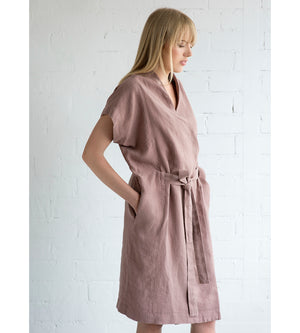 Motumo - Deep Pink Linen Tie Dress at Amberoot (4)