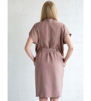 Motumo - Deep Pink Linen Tie Dress at Amberoot (5)