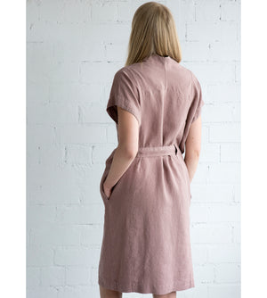 Motumo - Deep Pink Linen Tie Dress at Amberoot (6)