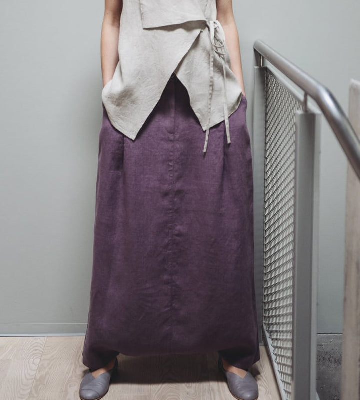 Motumo - Deep Plum Linen Harem Skirt at Amberoot (1)