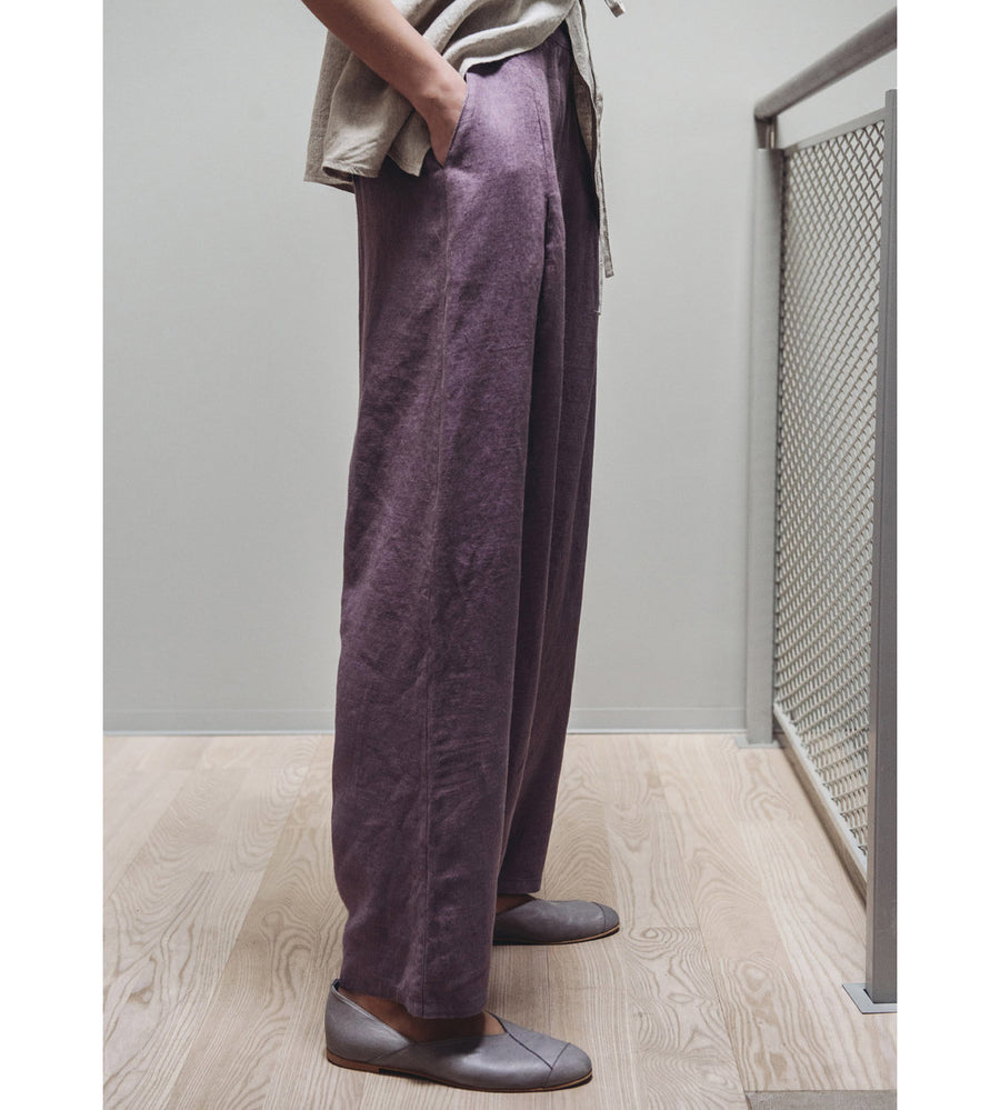 Motumo - Deep Plum Linen Harem Skirt at Amberoot (3)