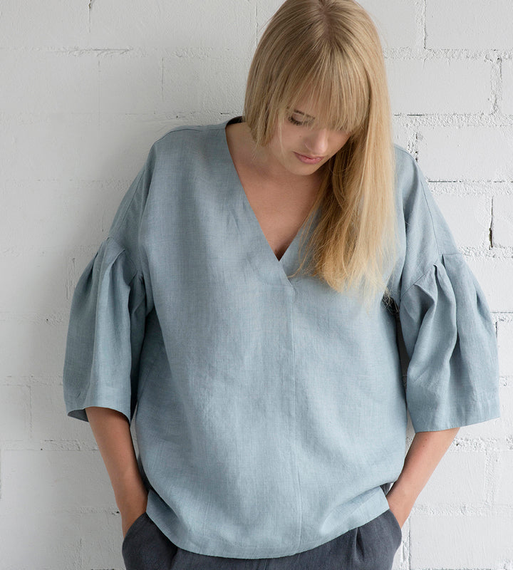 Motumo - Drop Shoulder Blouse in Grey Blue Linen at Amberoot (1)