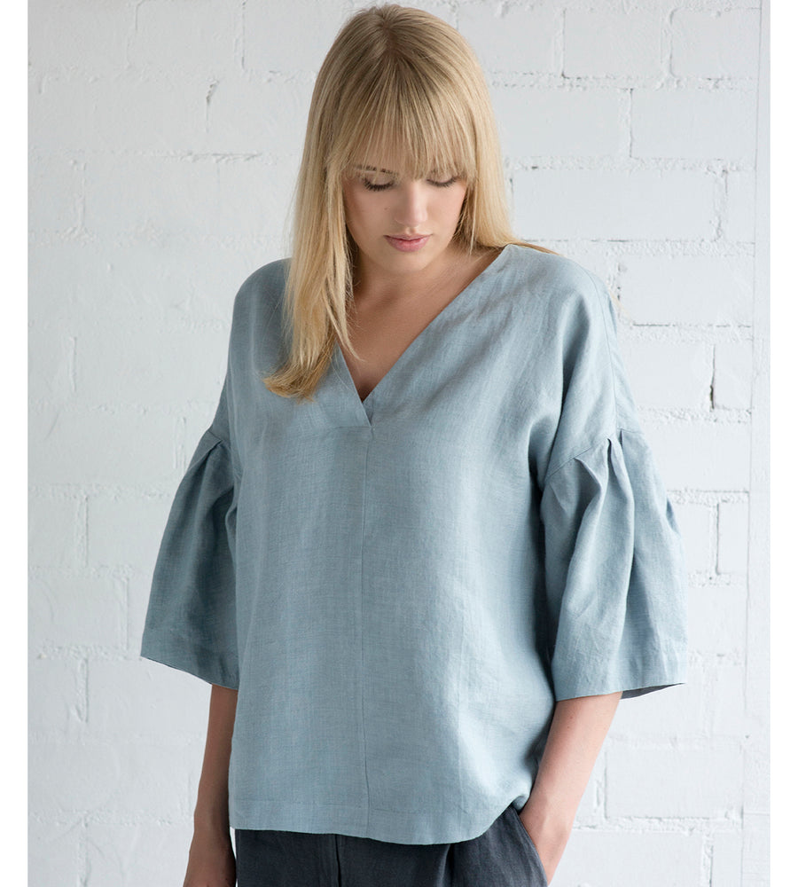 Motumo - Drop Shoulder Blouse in Grey Blue Linen at Amberoot (4)