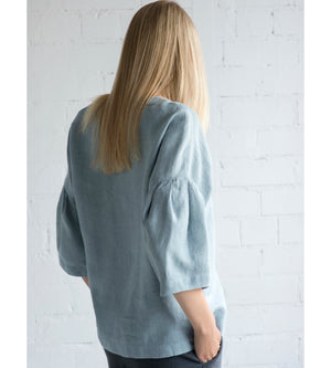 Motumo - Drop Shoulder Blouse in Grey Blue Linen at Amberoot (5)