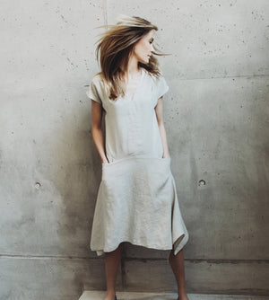 Motumo - Ecru Linen Dress at Amberoot (1)